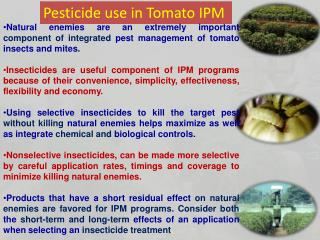 Pesticide use in Tomato IPM