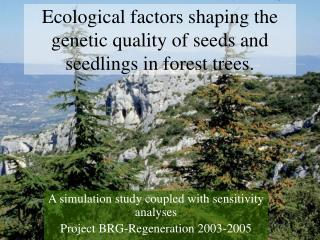 Ecological factors shaping the genetic quality of seeds and seedlings in forest trees.