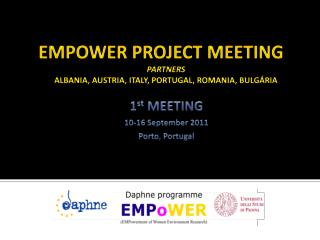 EMPOWER PROJECT MEETING Partners Albania, Austria, Italy, Portugal, Romania,  Bulgária