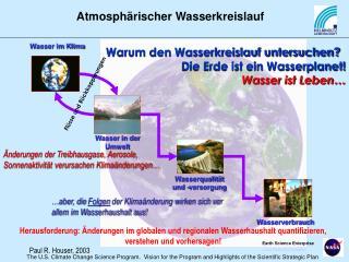 Warum den Wasserkreislauf untersuchen  Die Erde ist ein Wasserplanet   Wasser ist Leben