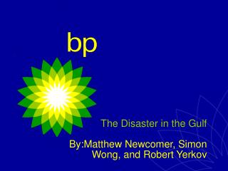 The Disaster in the Gulf By:Matthew Newcomer, Simon Wong, and Robert Yerkov