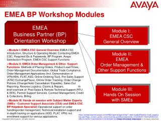 EMEA BP Workshop Modules