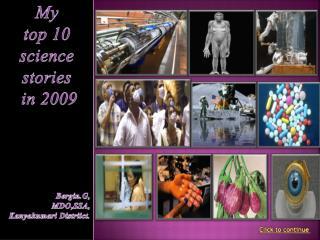 My  top 10  science  stories  in 2009