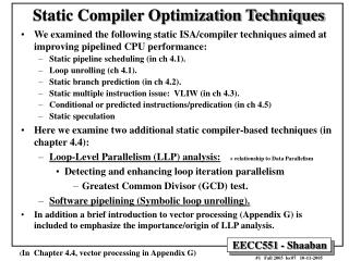 Static Compiler Optimization Techniques