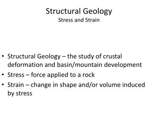Structural Geology Stress and Strain