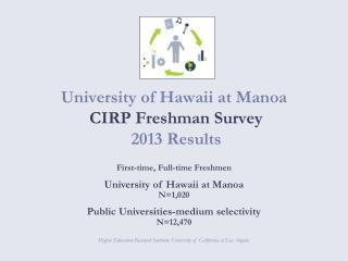 University of Hawaii at Manoa  CIRP Freshman Survey   2013 Results