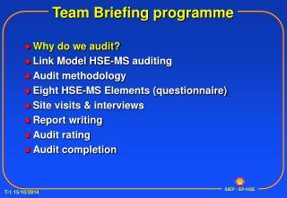 Team Briefing programme