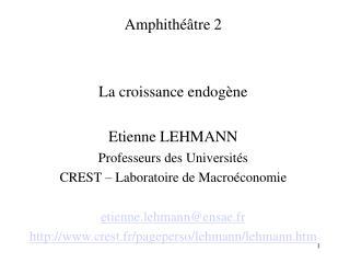 Amphithéâtre 2  La croissance endogène Etienne LEHMANN Professeurs des Universités