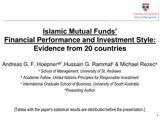 Islamic Mutual Funds'  Financial Performance and Investment Style: Evidence from 20 countries
