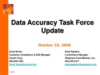 Data Accuracy Task Force Update
