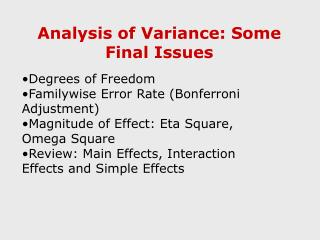 Analysis of Variance: Some Final Issues