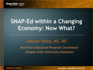 SNAP-Ed within a Changing Economy: Now What?