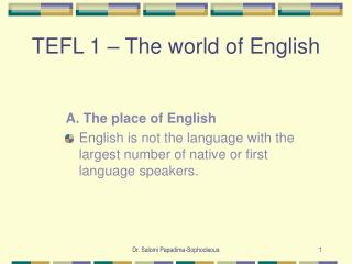 TEFL 1 – The world of English