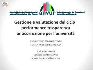 Gestione e valutazione del  ciclo performance trasparenza anticorruzione  per l'università