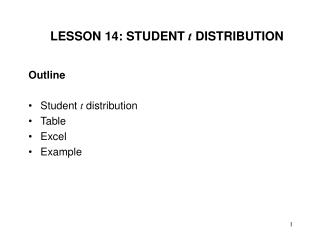 LESSON 14: STUDENT  t  DISTRIBUTION