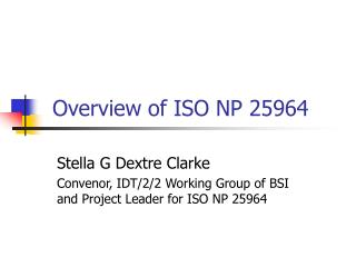 Overview of ISO NP 25964