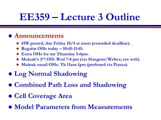 EE359 – Lecture 3 Outline
