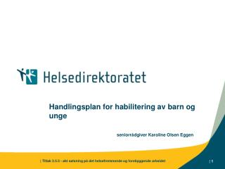 Handlingsplan for habilitering av barn og unge seniorrådgiver Karoline Olsen Eggen