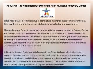 Focus On The Addiction Recovery Path With Muskoka Recovery C
