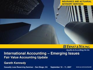 International Accounting – Emerging Issues  Fair Value Accounting Update