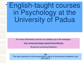 English-taught courses  in  Psychology  at the  University of Padua