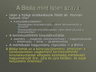 A Biblia mint Isten szava