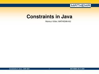 Constraints in Java