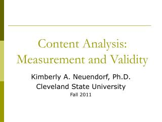 Content Analysis: Measurement and Validity