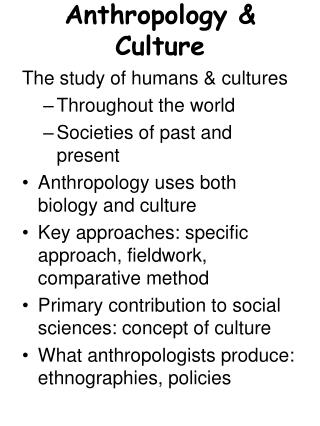 Anthropology & Culture