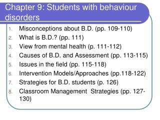 Chapter 9: Students with behaviour disorders