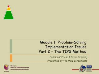 Module 1: Problem-Solving Implementation Issues  Part 2 - The TIPS Method