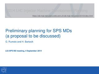 Preliminary planning for SPS MDs  (a proposal to be discussed)