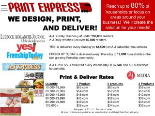 Print & Deliver Rates