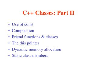 C++ Classes: Part II