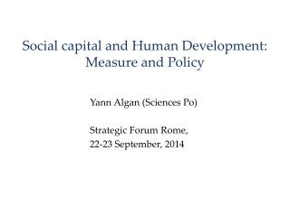 Social capital and  Human Development :  Measure  and Policy
