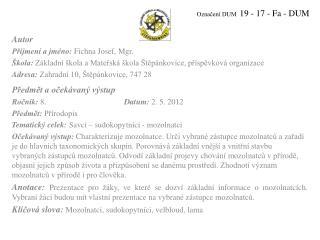 Označení DUM   19 - 17 - Fa - DUM
