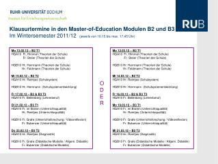 Klausurtermine in den Master-of-Education Modulen B2 und B3