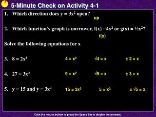 5-Minute Check on Activity  4-1