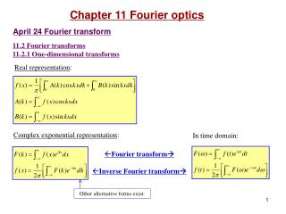 11.2 Fourier transforms 11.2.1 One-dimensional transforms