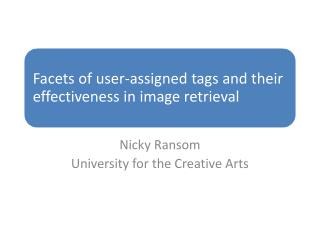 Nicky Ransom University for the Creative Arts