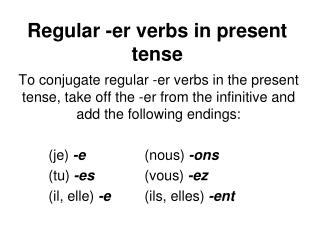 Regular -er verbs in present tense