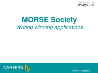 MORSE Society Writing winning applications