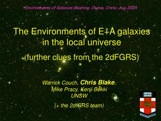 The Environments of E+A galaxies in the local universe ( further clues from the 2dFGRS)