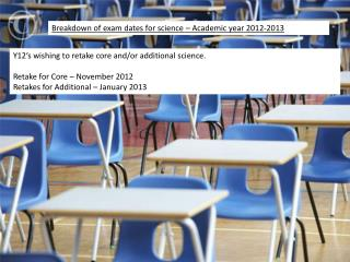 Breakdown of exam dates for science – Academic year 2012-2013