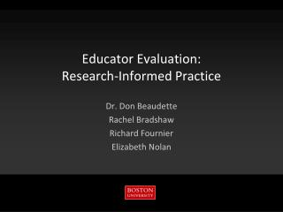 Educator Evaluation: Research-Informed Practice