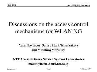 Discussions on the access control mechanisms for WLAN NG
