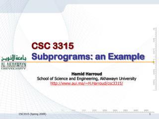 CSC 3315 Subprograms: an Example