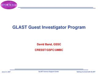 GLAST Guest Investigator Program