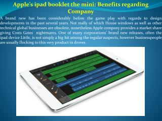 Apple's ipad booklet the mini Benefits regarding Company