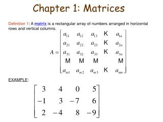 Chapter 1: Matrices